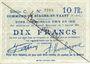 Billets Biache-Saint-Waast (62). Commune. Billet. 10 francs 5.1.1915, série C, annulation manuelle