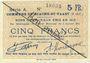 Billets Biache-Saint-Waast (62). Commune. Billet. 5 francs 5.1.1915, série A, annulation manuelle
