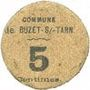 Billets Buzet-sur-Tarn (31). Commune. Billet. 5 centimes