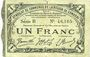 Billets Cambrai (59). Syndicat de Communes de la Région de Cambrai. Billet. 1 franc 10.5.1916, série B