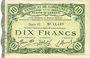 Billets Cambrai (59). Syndicat de Communes de la Région de Cambrai. Billet. 10 francs 10.5.1916, série G