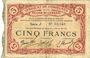 Billets Cambrai (59). Syndicat de Communes de la Région de Cambrai. Billet. 5 francs 10.5.1916, série J
