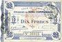 Billets Cambrai (59). Ville. Billet. 10 francs 30.10.1914, cachet d'annulation rouge au revers