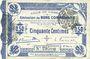 Billets Cambrai (59). Ville. Billet. 50 cmes 30.10.1914, 2e série, numérotation en noir