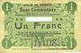 Billets Carvin (62). Ville. Billet. 1 franc 15.1.1915, Avec numéro découpé et cachet MUSTER (fantaisie(?)