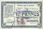 Billets Carvin (62). Ville. Billet. 10 francs 15.1.1915, série C, spécimen sans numérotation