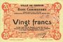 Billets Carvin (62). Ville. Billet. 20 francs 15.1.1915, essai uniface