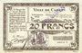 Billets Carvin (62). Ville. Billet. 20 francs 15.1.1915, série C, spécimen sans numérotation