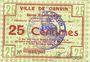 Billets Carvin (62), Ville, billet, 25 cmes 15.1.1915, fond constitué de motifs floraux au revers