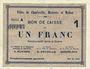 Billets Charleville, Mézières et Mohon (08). Billet. 1 franc 3.7.1915, série A