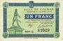 Billets Colmar (68). Ville. Billet. 1 franc 15.12.1918, série D