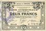 Billets Courrières (62). Commune. Billet. 2 francs, émission janvier 1916, série D