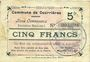 Billets Courrières (62). Commune. Billet. 5 francs, émission mars 1915