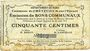 Billets Crèvecoeur-sur-l'Escaut (59). Commune. Billet. 50 centimes du 22.8.1915
