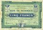 Billets Croix et Wasquehal (59). Villes. Billet. 5 francs 10.11.1914, série 6055