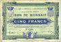 Billets Croix et Wasquehal (59). Villes. Billet. 5 francs 10.11.1914, série 6190