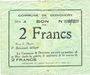 Billets Donchery (08). Commune. Billet. 2 francs 11.8.1915