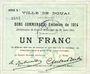 Billets Douai (59). Ville. Billet. 1 franc 30.8.1914, série B1