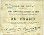 Billets Douai (59). Ville. Billet. 1 franc 30.8.1914, série B2