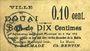 Billets Douai (59). Ville. Billet. 10 centimes 6.5.1915, papier chamois