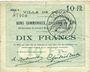 Billets Douai (59). Ville. Billet. 10 francs 30.8.1914, série E6