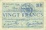 Billets Douai (59). Ville. Billet. 20 francs 30.8 et 15.10.1914, nlle série, F