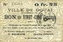 Billets Douai (59). Ville. Billet. 25 centimes 6.6.1915