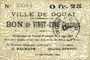 Billets Douai (59). Ville. Billet. 25 centimes 6.6.1915