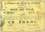 Billets Drocourt (62). Commune. Billet. 1 franc, série C