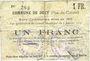 Billets Dury (62). Commune. Billet. 1 franc 5.1.1915 (imprimerie Paul Dutilleux à Roubaix). Inédit !