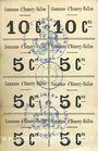 Billets Esmery-Hallon (80). Carton non coupé comprenant 2 billets de 10 cmes et 6 de 5 cmes