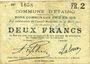 Billets Etaing (62). Commune. Billet. 2 francs 22.3.1915