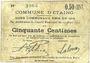 Billets Etaing (62). Commune. Billet. 50 centimes 22.3.1915