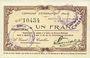 Billets Etréaupont (02). Commune. Billet. 1 franc 13.8.1915