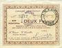 Billets Etréaupont (02). Commune. Billet. 2 francs 13.8.1915