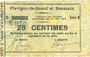 Billets Flavigny-le-Grand et Beaurain (02). Billet. 25 cmes 20.12.1914, série B