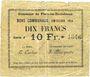Billets Flers-en-Escrébieux (59). Commune. Billet. 10 francs, émission 1914, série J