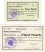 Billets Forbach (57). Ville. Billets. 1 mark, 5 mark 19.8.1914, série A, réimpressions