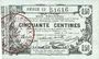 Billets Fourmies (59) Bon Régional des Départ. du Nord, Aisne & Oise, billet 50 cmes 8.5.1915, série 13