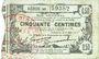 Billets Fourmies (59). Bon Régional des Départ. du Nord, Aisne & Oise. Billet. 50 cmes 8.5.1915, série 46