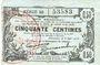 Billets Fourmies (59). Bon Régional des Départ. du Nord, Aisne & Oise. Billet. 50 cmes 8.5.1915, série 50