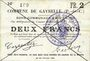 Billets Gavrelle (62). Commune. Billet. 2 francs 22.8.1915