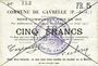 Billets Gavrelle (62). Commune. Billet. 5 francs 22.8.1915