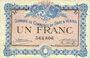 Billets Gray et Vesoul (70). Chambre de Commerce. Billet. 1 franc 4.10.1915, sans le nom de l'imprimeur