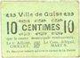 Billets Guise (02). Ville. Billet. 10 centimes, rameau vers la droite