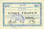 Billets Guise (02). Ville. Billet. S.Q.G., 20 francs 17.10.1917, 2e série