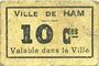 Billets Ham (80). Ville. Billet. 10 centimes