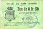 Billets Ham (80). Ville. Billet. 50 centimes