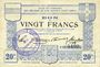 Billets Ham, Noyon & Saint-Simon (80). Union des Communes. Billet. 20 francs