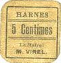 Billets Harnes (62). Commune. Billet. 5 centimes